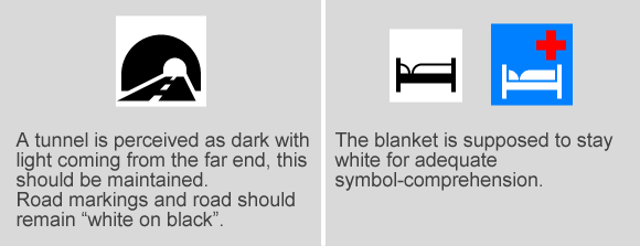 In some cases it is relevant for understanding of the meaning of a symbol, that solid forms have solid (dark) colour, or that that colours stay unchanged.